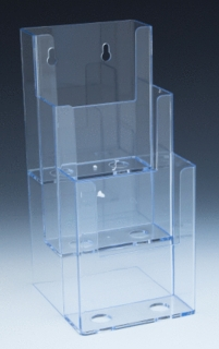 Multiple Pocket Styrene and Plastic Brochure and Literature Holders