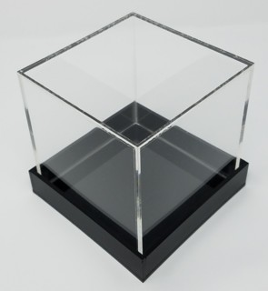 Clear Acrylic Cubes with Black Bases for memorabilia, dolls or collectibles
