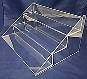 Clear Acrylic Tiered Shelves, Plexi Greeting Card Racks, Lucite Display Shelf