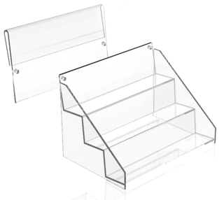 ACD36 3-tier acrylic display shelf with header