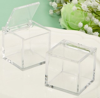 Clear Acrylic Hinged Top Box - Wedding Favors