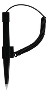 AD-Pen1 Black Pen with Coiled Tether