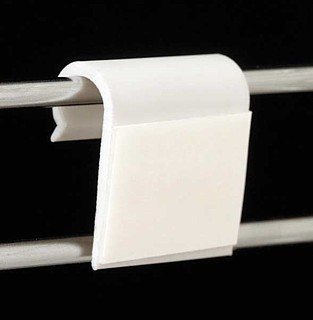 White Gridwall Wire Adapter Clip With Adhesive Tape Back