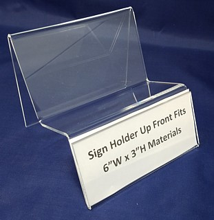 Clear Acrylic Dispaly Stand with Shelf for Product and Sign Holder in Front