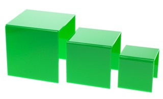 Green Acrylic Risers and Plexi Pedestals