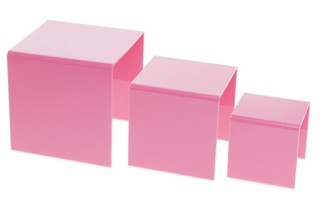 Pink Acrylic Risers and Plexi Pedestals