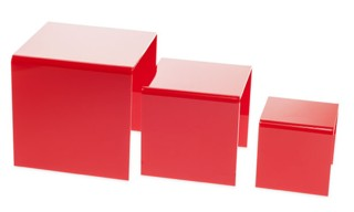 Red Acrylic Risers and Plexi Pedestals