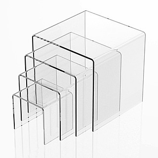 Clear Acrylic Square U Riser Set of 4 in Plexi or Lucite