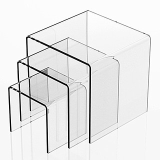 Clear Acrylic Square U Riser Set of 3 in Plexi or Lucite
