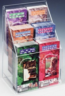 AWH2x3 Clear Acrylic Brochure Holder with Adjustable Pockets for Full Sheet and Trifolds