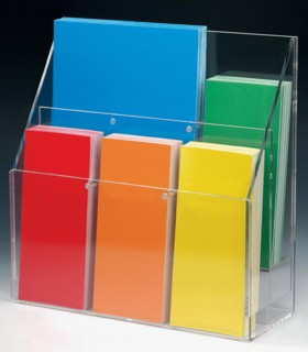 Combination Wallmount and Countertop Acrylic and Plastic Brochure and Literature Holders, plexi, plexiglass, plexiglas, lucite