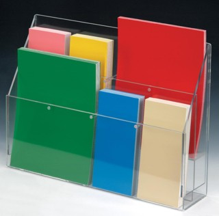 Adjustable Width Pocket Wallmount and Countertop Acrylic and Plastic Brochure and Literature Holders