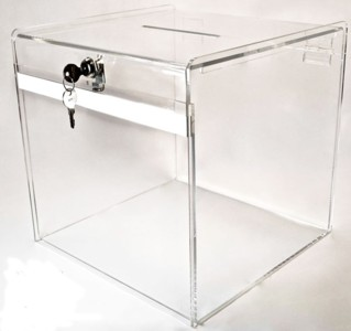 Clear Acrylic Locking Ballot or Suggestion or Entry Box