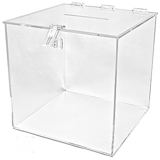 BB12P Plexiglas, Acrylic, Lucite and Plastic Locking Ballot Box, Comment Box, Suggestion Box, Drop Box or Entry Box