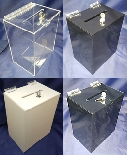 BB675-C, BB675-B, BB675-W and BB675-S Acrylic Locking Ballot Box Comment Box Suggestion Box in Plexiglas Acrylic Lucite Plastic