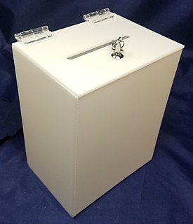 White Acrylic Locking Ballot or Suggestion or Entry Box