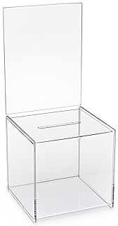 BB85HD Clear Acrylic Ballot Drop Box, Comment Box or Suggestion Box with Header