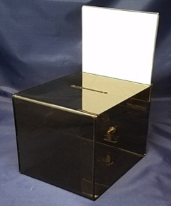Smoke Acrylic Locking Ballot or Suggestion or Entry Box