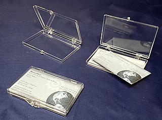 Plastic Business Card Holders Hinged Carrying Case for Tradeshows