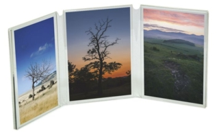 Book Style 3 Panel Photo Display Frames in Acrylic, Plexiglas, Plexiglass, Lucite, Plastic