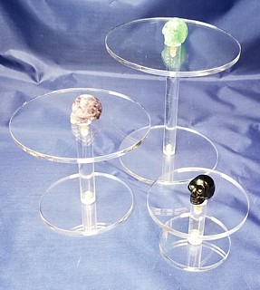 Clear Acrylic Circular Barbell Platform Pedetsal Riser in Plexi or Lucite