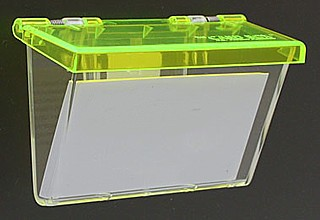 Clear Molded Styrene Wallmount Business Card Holder with Green Lid
