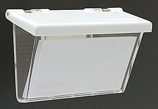 Clear Molded Styrene Wallmount Business Card Holder with White Lid