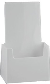 CH41-WT White Single Pocket Trifold Countertop Brochure, Leaflet, Pamphlet, Take One Holder