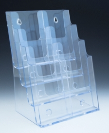 Multiple Pocket Molded Styrene and Plastic Brochure and Literature Holders