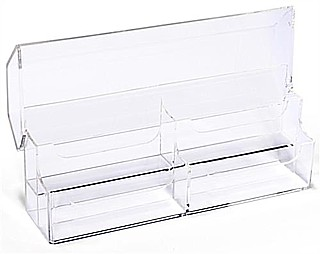 Clear Molded Styrene 4 Pocket Business Card or Gift Card Holder with Hinged Cover