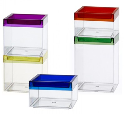 Clear Stackable Plastic Boxes with Colored Lids