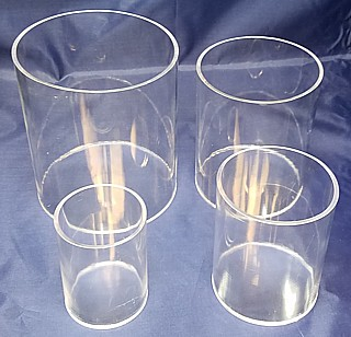 Clear Acrylic Round Cylinder Ring Riser Set of 4 in Plexi or Lucite