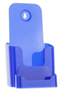 Blue Trifold Literature Holder with Business Card Holder