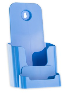 Light Blue Trifold Literature Holder with Business Card Holder