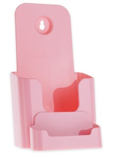 Pink Trifold Literature Holder with Business Card Holder
