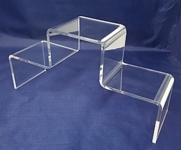 Clear Acrylic Stair Step Display Stands, Acrylic Pedestal Risers, Acrylic Product Easel