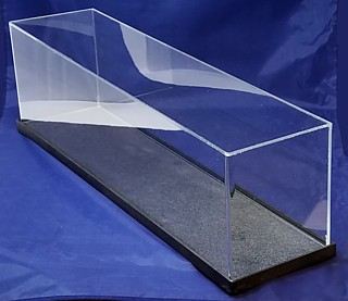 Clear Acrylic Display Case with Black Base For Displaying Model Ships, Trophy, Dolls, Awards, Products, Collectibles
