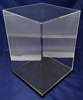 Clear Acrylic Display Case with Black Base For Displaying Trophy, Dolls, Awards, Products, Collectibles