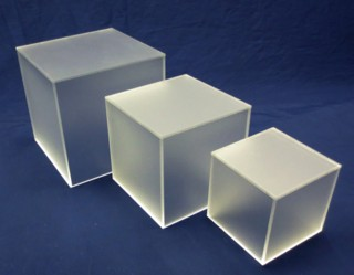 Frosted Acrylic 5-Sided Cubes and Plexi Boxes made from Plexiglas, Plexiglass, lucite and plastic