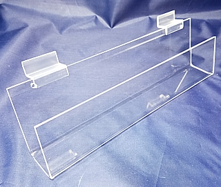 Clear Acrylic slatwall J-Rack shelves and card rack shelving in Plexiglas, PlexiGlass, Lucite, and plexi
