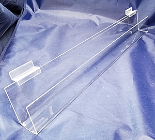Clear Acrylic J-Rack Shelf or Card Rack Shelf For Slatwall