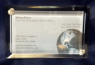 Deluxe Acrylic Beveled Business Card Frame or Paperweight