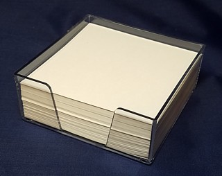 Clear Molded Styrene Memo Holder for Scratch Pads, Memos, Sticky Note Holder, and More - Made From Polystyrene Plastic