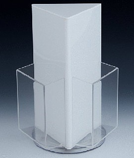 White and Clear Acrylic 3 Pocket Rotating Brochure Literature Holder Model RBH4-W