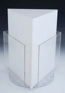 Acrylic Rotating Brochure and Literature Holder in White and Clear Plexi