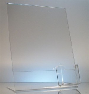 Slant Back Easel Display Frame with vertical business card pocket in Acrylic, Plexiglas, Plexiglass, Lucite, Plastic