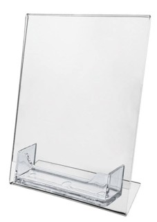 Slant Back Easel Display Frame with business card pocket in Acrylic, Plexiglas, Plexiglass, Lucite, Plastic
