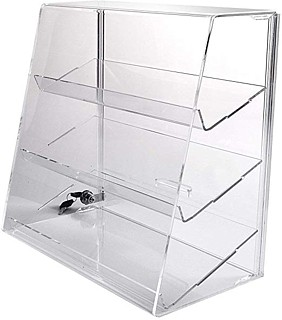 Upright Countertop Acrylic showcases with slanted front and slanted shelves