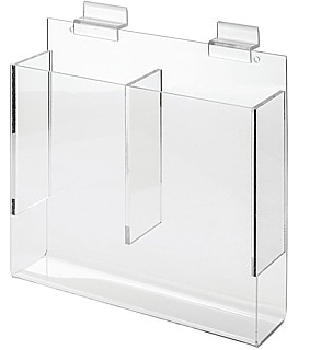 Clear Acrylic 2 Pocket Slatwall Literature Holder model SLH2x4 For Tri-Fold Brochures or Pamphlets