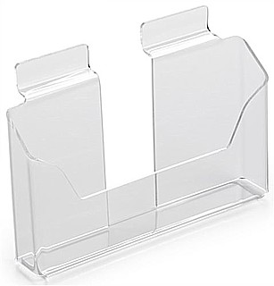 Clear Acrylic Slatwall Literature Holder model SLH64C For Postcards,  Brochures or Pamphlets